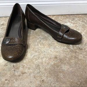 Clark's 87396 Brown Floral Print Leather Heel